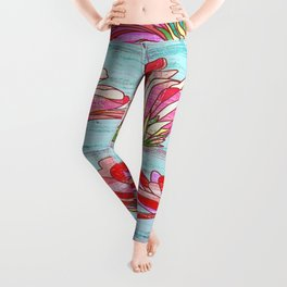 Gerbera flowers print, floral pattern in mint and pink Leggings