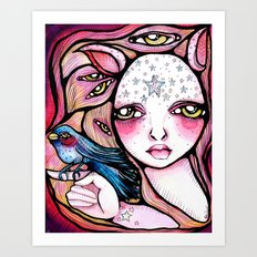 A Girl and Her Bird Art Print