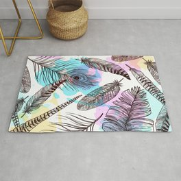 Beautiful Watercolor Feathers Rug