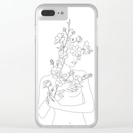 Minimal Line Art Woman with Wild Roses Clear iPhone Case