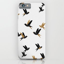 Origami Birds Collage I, Gold and Black iPhone Case