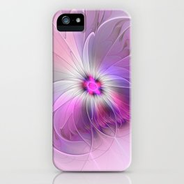 Abstract Flower With Pink And Purple Fractal iPhone Case