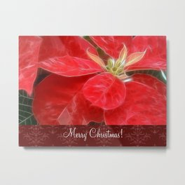 Mottled Red Poinsettia 1 Ephemeral Merry Christmas S5F1 Metal Print