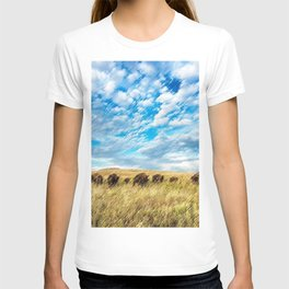 Buffalo on the American Prairie Landscape Painting by Jeanpaul Ferro T-shirt