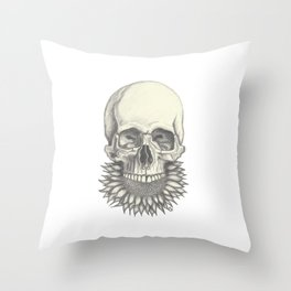 Sunflower Skull Throw Pillow