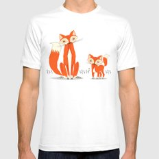 Two Fine Foxes White MEDIUM Mens Fitted Tee