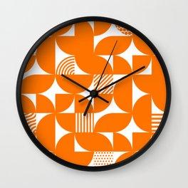 Orange Mid Century Bauhaus Semi Circle Pattern Wall Clock