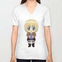 shingeki no kyojin V-neck T-shirts featuring Shingeki no Kyojin - Chibi Armin Flats by Tenki Incorporated