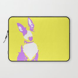 Puppy in yellow purple and white art print Laptop Sleeve