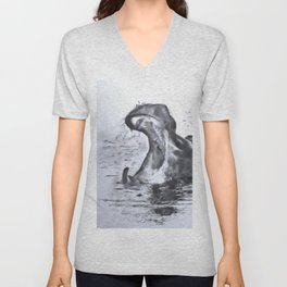 Animals and Art - Hippo Unisex V-Neck