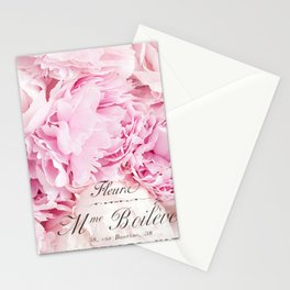 Paris Pink Peonies Shabby Chic French Script Stationery Cards