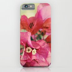 Vintage Bougainvillea Flowers in pink & green with textures iPhone 6 Slim Case