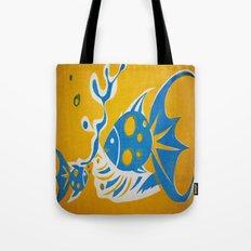 Screenprint Gold and Fish Tote Bag