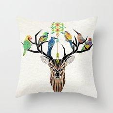 deer birds Throw Pillow