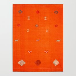 -A10- Traditional Anthropologie Moroccan orange Artwork. Poster