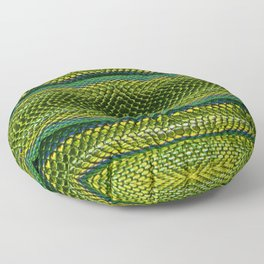 Bright Yellow Green Snake Reptile Scales Photograph Floor Pillow