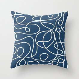 Doodle Line Art | White Lines on Petrol Blue Throw Pillow