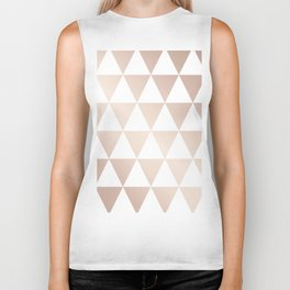 triangle pattern, rose gold and white Biker Tank