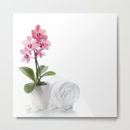 spa composition with beautiful pink orchid over white Metal Print