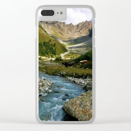 verpeil valley cows river mountains kaunertal tirol austria europe Clear iPhone Case