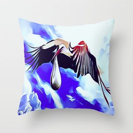 White Storks Delivering Newborn Foundlings Throw Pillow