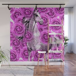 WHITE HORSE AND PINK ROSES Wall Mural