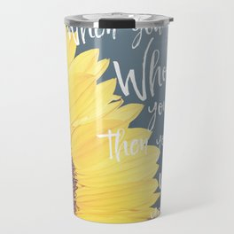 Sunflower with Faith Quote Typography Travel Mug