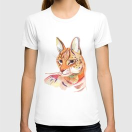 Serval wild cat watercolor T-shirt