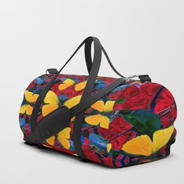 RED-WHITE ROSES & YELLOW BUTTERFLIES GARDEN Duffle Bag