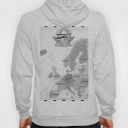 Vintage Black and white Europe poster Hoody