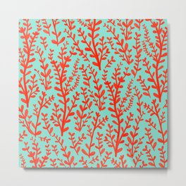 Mint Green and Red Floral Leaves Gouache Pattern Metal Print