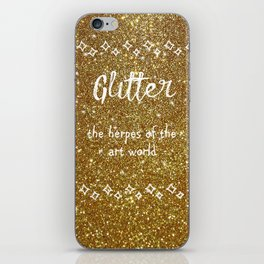 Quirky funny glitter - gold iPhone Skin