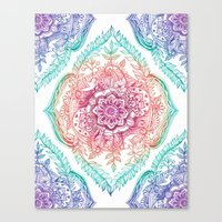 indian Canvas Prints featuring Indian Ink - Rainbow version by micklyn