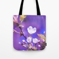 cherry blossoms Tote Bags featuring CHERRY BLOSSOMS by VIAINA