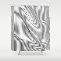ace Shower Curtains featuring Minimal Curves by Leandro Pita