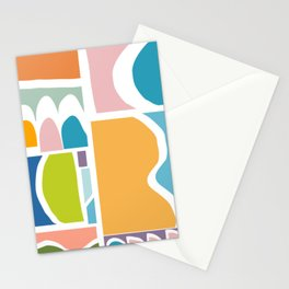 Playful Abstract Paper Cut-Out Shapes in Fun Color Stationery Cards