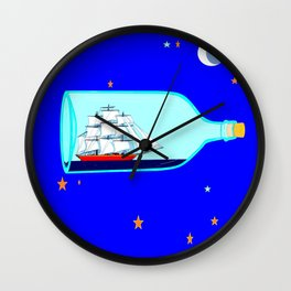 A Ship in a bottle, blue night sky with stars and moon Wall Clock