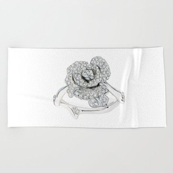 Silver Rose Ring Beach Towel