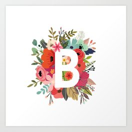 B – Monogrammed Floral Initial Art Print