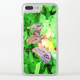 Tropical Owl Butterflies Clear iPhone Case