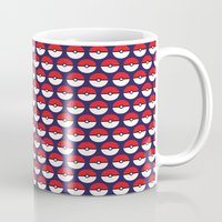 pokeball Mugs featuring Pokeball Pattern by Jennifer Agu