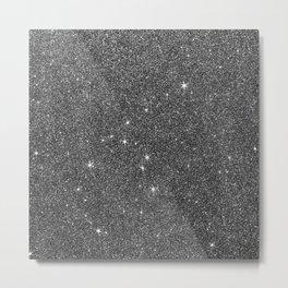 Modern elegant black faux glitter luxury pattern Metal Print