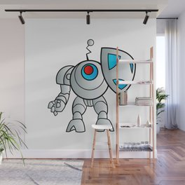 robot with a shield Wall Mural