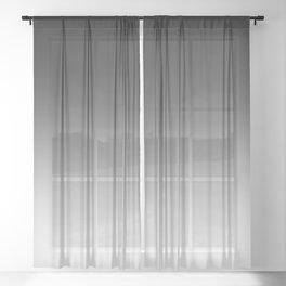 Black to White Horizontal Linear Gradient Sheer Curtain
