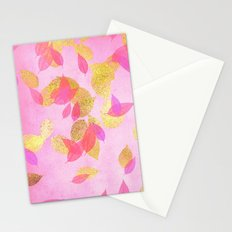 Autumn-world 5 - gold glitter leaves on pink background on #Society6 Stationery Cards