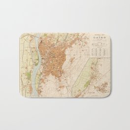 General Map of Cairo, Egypt (1920) Bath Mat
