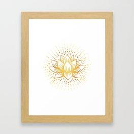 Golden Lotus Mandala Light Framed Art Print