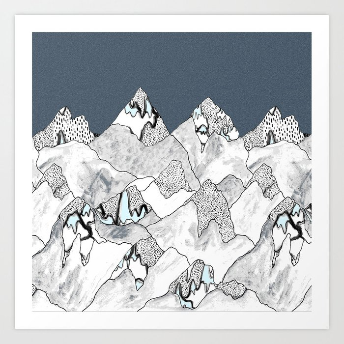 At night in the mountains Art Print
