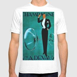 Vintage Champagne Veuve A. Devaux, Paris, France Jazz Age Roaring Twenties Advertisement Poster T-shirt