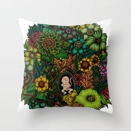 """Floral Uterus """"緑(ROKU)"""" Throw Pillow"""